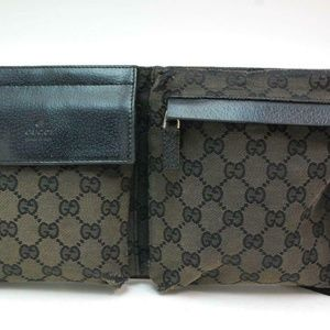 Auth Gucci Gg Waist Belt Bum Bag Gray #1380G10